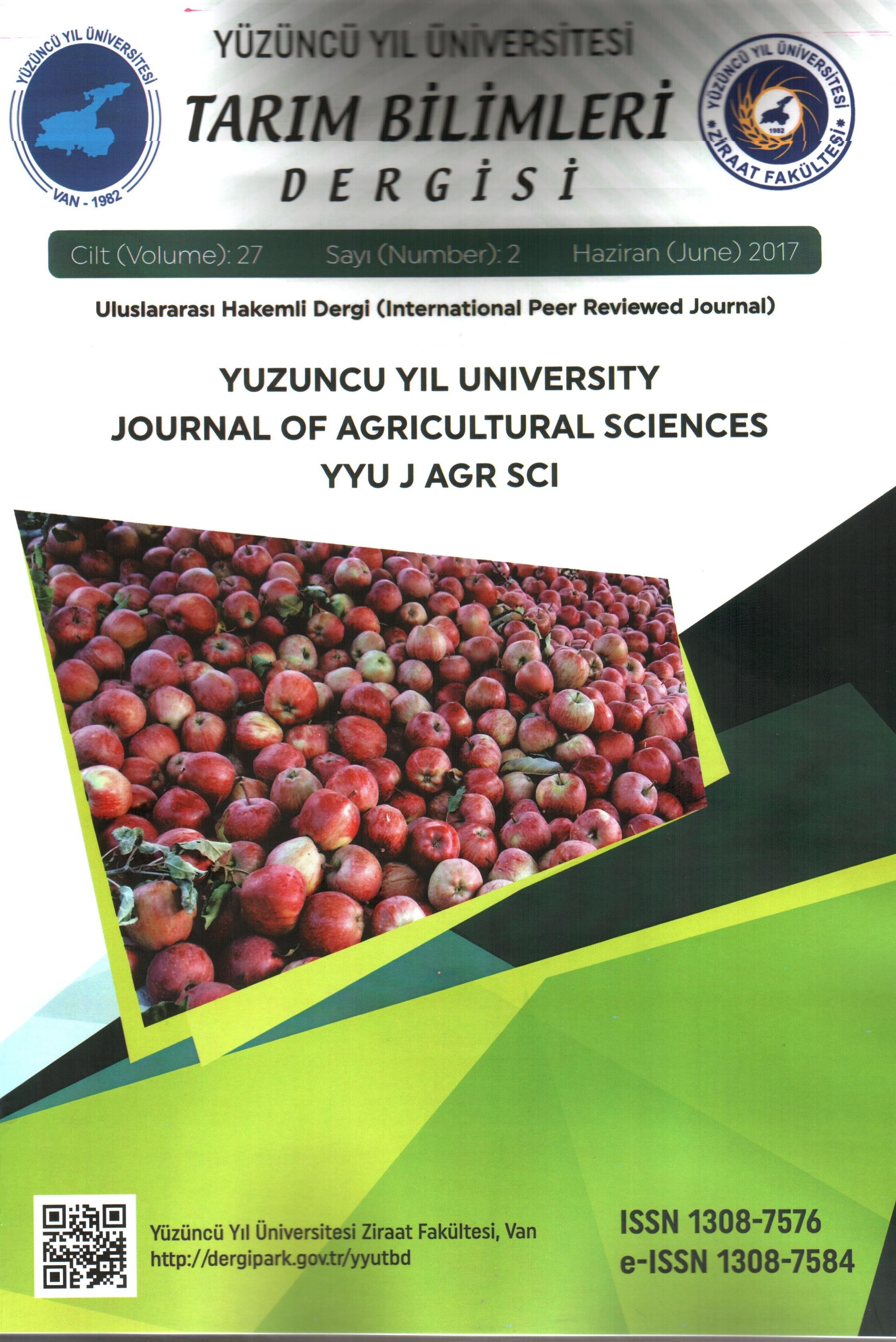 Yuzuncu Yıl University Journal of Agricultural Sciences